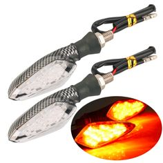 2pcs 16LED Motorcycle Turn Signal Amber Light Carbon ABS Indicator Lamp New Hot Selling #Affiliate