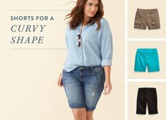 Stitch fix stylist. If you fall into the curvy camp, chances are, you might be carrying your weight down below—it's what gives you that covetable curvy silhouette! Stitch Fix Outfits, Casual Outfits, Fashion Outfits, Fashion Tips, Women's Fashion, Stitch Fit, Big Thighs, Stitch Fix Stylist, Long Shorts