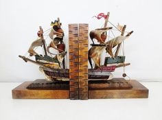 Vintage Ship Bookends Antique Clipper Ship Bookends Mid Century Wooden Tilso Sailboat Bookends Pirate Ship Bookends Nautical Decor
