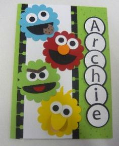 Good example for using round scallop punch to make Sesame Street characters.