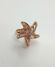 Take a look at this Crystal & Rose Gold Cutout Starfish Ring by Amabel Designs on #zulily today!
