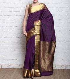 Violet #Kanjivaram #SilkSaree With Zari Work #Indianroots #flipkart