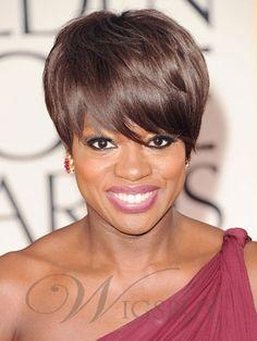 Viola Davis's Popular Hairstyle Short Straight Dark Brown Top Quality Comfortable Black Hair Wigs