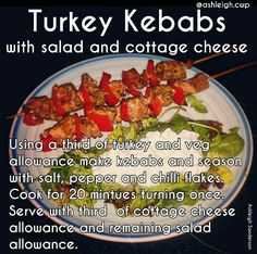 Turkey kebab #cwp #CambridgeDiet #step2 Cambridge Diet Step 2, Cambridge Weight Plan, Diet Recipes, Recipies, Cooking Recipes, Healthy Recipes, Cwp Step 2 Recipes, 200 Calorie Meals