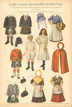 Lettie Lane Paper Doll by Sheila Young Scotch Boy Irish Girl 1911 Art Print Costumes Around The World, Paper Art, Paper Crafts, Paper People, Girl Artist, Irish Girls, Thinking Day, Vintage Paper Dolls, Online Collections