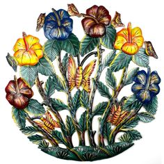 This 24-inch round painted Haitian metal wall art features butterflies flitting about colorful flowers. The piece is cut, embossed, and painted by hand. Suitable for hanging indoors or outdoors.