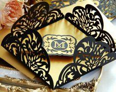 Items similar to Wedding stationery invitation Art Deco Nouveau monogram Card Templates SVGfiles Lace fold (svg, dxf, ai, eps) papercut lasercut Cameo Cricut on Etsy Art Deco Invitations, Invitation Cards, Invites, Invitaciones Art Deco, Wedding Stationery, Wedding Invitations, Silhouette Cameo 2, Card Patterns, Deco Table