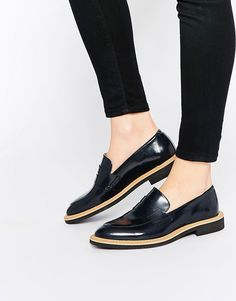 Image 1 of Selected Femme Mira Navy Leather Loafer Flat Shoes