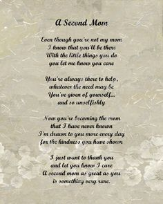Hey, I found this really awesome Etsy listing at http://www.etsy.com/listing/118604136/a-second-mom-love-poem-for-stepmom-8-x