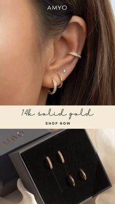 Ear Jewelry, Cute Jewelry, Body Jewelry, Jewelry Accessories, Pretty Ear Piercings, Ear Peircings, Bijoux Piercing Septum, Cartilage Earrings, 14k White Gold Earrings