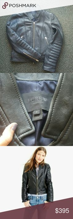 0 J. Crew leather jacket Black slim-fitting leather jacket that features some traditional motorcycle jacket details?like quilted patches along the sleeves and asymmetrical zip pockets?but also a standing collar and pretty rose-gold zips for a flirty finish. 100% leather, excellent condition, no longer available from the store! J. Crew Jackets & Coats