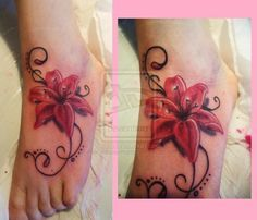 lily and hummingbird tattoo   pink lilly with swirls foot tattoo by ~cherryblossomtattoo on ...