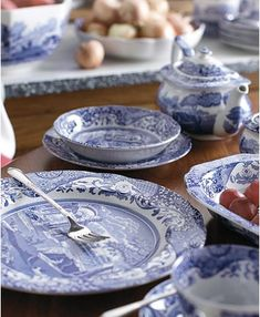 Spode Dinnerware, Blue Italian Collection & Reviews - Dinnerware - Dining - Macy's Blue And White Dinnerware, Blue Dinnerware, Porcelain Dinnerware, Blue Dishes, White Dishes, Sandwich Trays, Italian Table, Tuscan House, Blue Bowl