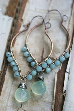 Accessoires, Femmes, oreilles, perles bleues