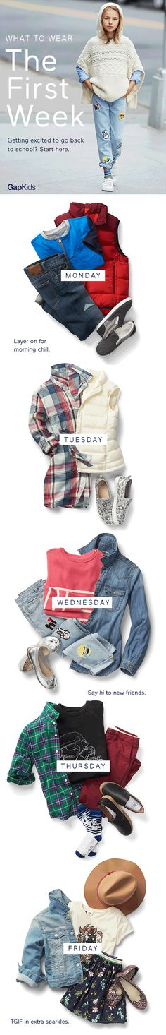 It's back to school season and we have all the wardrobe staples you need to start the school year on the right foot: cool, comfortable jean jackets, move-with-you denim, warm vests, and sparkly sneakers.  Shop now at Gap.com Kindergarten Fashion, Comfortable Jeans, Boys Wear, Kids Store, Autumn Inspiration, Swagg, Boy Fashion, Wardrobe Staples, Back To School