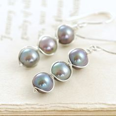 Peacock Pearl Earrings Wrapped in Sterling Silver, Handmade Pearl Jewelry, June Birthstone Earrings, aubepine
