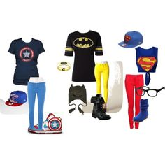 captain america, batman and superman outfits for the girls Geek Fashion, Fashion Outfits, Womens Fashion, Estilo Converse, Batman And Superman, Batman Shirt, Batman Stuff, Spiderman, Best Friend Outfits