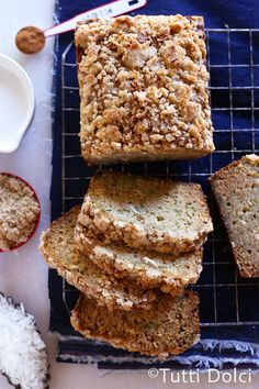 Coconut Zucchini Bread with Coconut Crumb Topping - an irresistible quick bread!