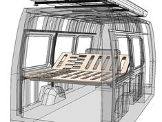 20 years of CAD experience pays off - allowing CreatID to give the bed mechanics maximum flexibility Van Conversion Build, Van Conversion Interior, Sprinter Van Conversion, Camper Van Conversion Diy, Van Interior, Motorhome, Layout Design, Camper Windows, Camper Beds
