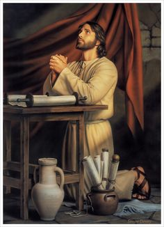 "'Hallowed Be Thy Name' by Simon Dewey …The painter ""wanted to present Christ, before his ministry began, preparing himself through study and prayer. Images Of Christ, Pictures Of Jesus Christ, Religious Pictures, Bible Pictures, Religious Art, Sunday Pictures, Lds Art, Bible Art, Arte Lds"