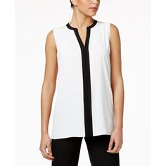 Tommy Hilfiger Sleeveless Colorblocked Blouse ($49) ❤ liked on Polyvore featuring tops, blouses, color block blouse, sleeveless blouse, leather sleeveless top, white top and colorblock top
