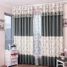 window coverings curtains of Floral and Polka Dot Printed Patterns with Lace Short Window Curtains, Wooden Window Blinds, Drapes And Blinds, Home Curtains, Green Curtains, Hanging Curtains, Blinds For Windows, Rideaux Design, Fresh Living Room