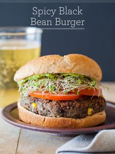 Low Calories Homemade Black Bean Veggie Burgers Lunch Recipe