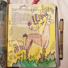 """As I finish my walk through James I loved this reminder.  Let your """"yes"""" be yes and your """"no"""" be no.  I don't like drama. I don't want to be a drama llama or be around them:) #illustratedfaith #biblejournaling #biblejournal #idrawinmybible #biblejournalingcommunity #dramallama http://ift.tt/1KAavV3"""