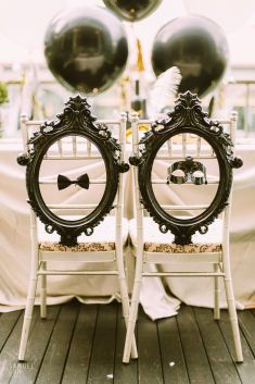 Creative and unique DIY wedding chair idea | This is amazing! Head over to MerryLove Weddings where you can see more of their unique works http://www.bridestory.com.sg/merrylove-weddings/projects/great-gatsby-glam-for-ray-and-june