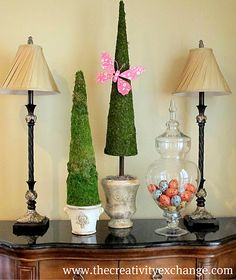 Fabric Covered Poster Board Tree Cones {Part 2}… | The Creativity Exchange would be fun to have 4th of July cones!!