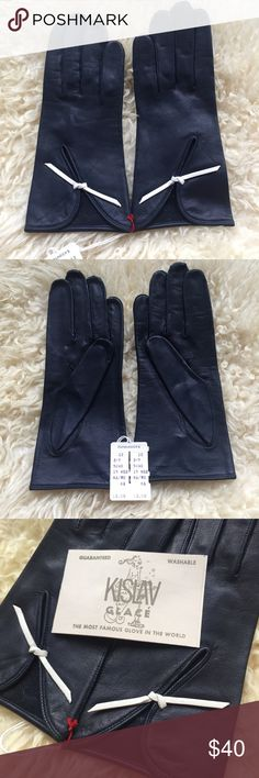 Kislav Vintage Driving Gloves Kislav guaranteed washable gloves. Made in France, sold in Detroit Hundson's department store. Black leather driving gloves with a diagonal slit and a white bow detail. Excellent vintage condition, comes with original packaging, tags, care instructions and even an ad for glove bath. Size 6.5 Kislav Accessories Gloves & Mittens