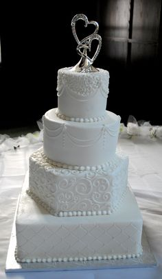 Traditional wedding cake in white