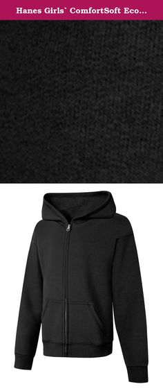 Hanes Girls` ComfortSoft EcoSmart Full-Zip Hoodie Sweatshirt, OK270, M, Black. This fun graphic full-zip hoodie is all heart.At Hanesbrands Inc., our EcoSmart® products keep the equivalent of nearly 50 million plastic bottles from landfills each year.Soft, 7.5oz cotton blend provides comfort in any climate.Roomy front pouch pockets keep hands warm and lunch money ready.Kid-safe, cord-free hood helps block out wind and chill.Ribbed hem and cuffs keep their shape.High-stitch density, so it...