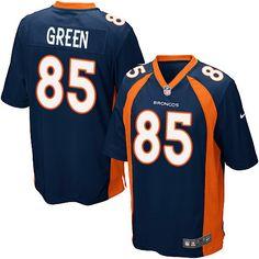 Nike Game Virgil Green Navy Blue Men's Jersey - Denver Broncos #85 NFL Alternate