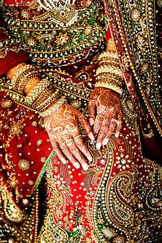 Wedding sari and henna. Wow.