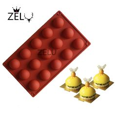 ZELU 15 Companies Small Semi-spherical Non-Stick Silicone Round Ball Mini Truffles Cake mould for Chocolate Dessert Mould