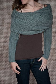 Knitting Pattern - Sleeve Scarf Sweater Wrap - Instand Download PDF a495f20f5