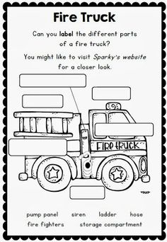 Label it fire truck fire safety firefighters community helpers fire safety week with sparky the fire dog worksheets for grades fire safety week oct to ibookread Download