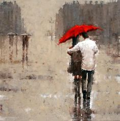 Couple walking in the rain together. Painting by Andre Kohn.