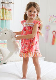 Wish You Were Here; Summer 2018; Wake Up Call Nightie. Along with a darling rose print, the embroidery on these pretty P.J.s makes this nightie extra sweet and special. #MatildaJane #Pajamas #PJs #PinkPajamas #Floral #FloralPajamas
