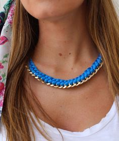 Statement Necklace - Gold Chunky chain necklace - Blue woven thread necklace - Gold and Blue Necklace