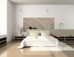 Светлая спальня с большой картиной: купить всё необходимое и  получить консультацию дизайнера вы можете в Центре дизайна и интерьера 'Экспострой на Нахимовском'