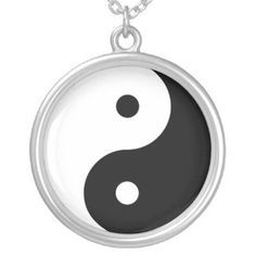 e_zazzle_man Large Silver Plated Round Yin Yang Necklace