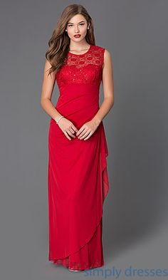 Shop floor length formal gowns at SimplyDresses. Floor length dresses, formal gowns with lace bodices for holiday formals.