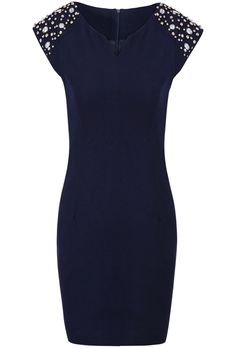 Navy Sleeveless Beading Shoulder V-neck Dress US$39.34
