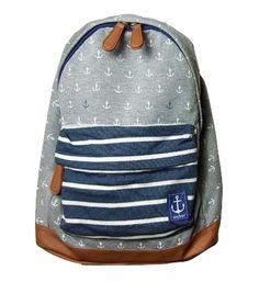 Navy Anchor Blue and White Striped Backpack