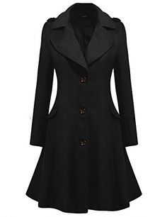 c2ba968e09f Fashion  Coats · Zeagoo Women s Slim Long Turn-Down Collar Woolen Trench  Coat Black Medium ~ Wool  amp