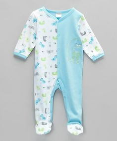 Take a look at this Blue Dino Footie - Infant by Babyworks on #zulily today!