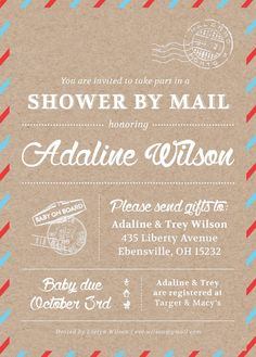 Shower By Mail Invitation Themed Baby On Etsy For Military Families Living