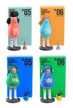 SML ART TOY M05 - M06, S05 - S06 on Behance Toy Packaging, Packaging Design, Branding Design, Shape Design, Icon Design, Sticky Monster, Mascot Design, Vinyl Toys, Designer Toys